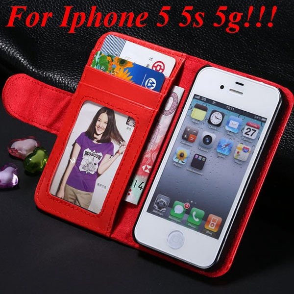 4S 5S Luxury Pu Leather Case Photo Frame Flip Cover For Iphone 5 5 1330267603-7-red for 5s