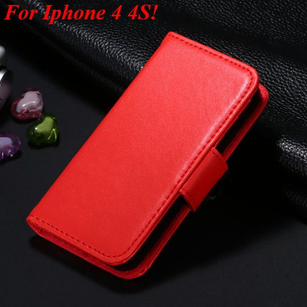 4S 5S Luxury Pu Leather Case Photo Frame Flip Cover For Iphone 5 5 1330267603-12-red for 4s