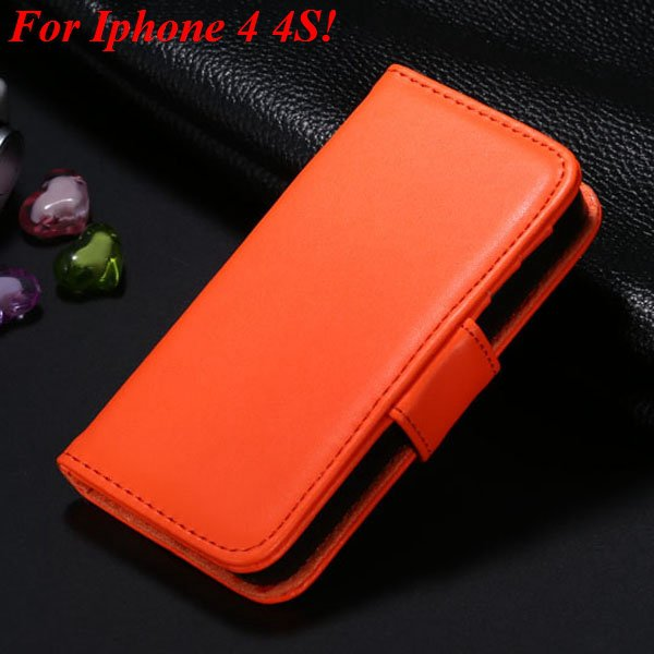 4S 5S Luxury Pu Leather Case Photo Frame Flip Cover For Iphone 5 5 1330267603-20-orange for 4s