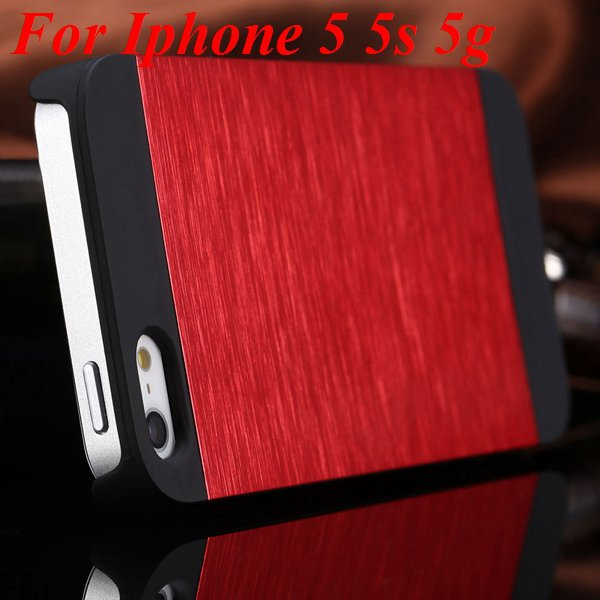 5S 4S Aluminum Case Deluxe Metal Brush Back Cover For Iphone 5 5S  1850171571-3-red for 5S