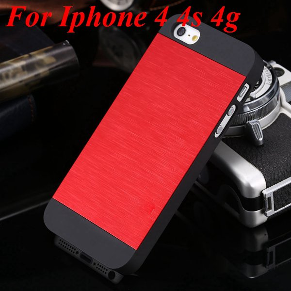 5S 4S Aluminum Case Deluxe Metal Brush Back Cover For Iphone 5 5S  1850171571-8-red for 4S