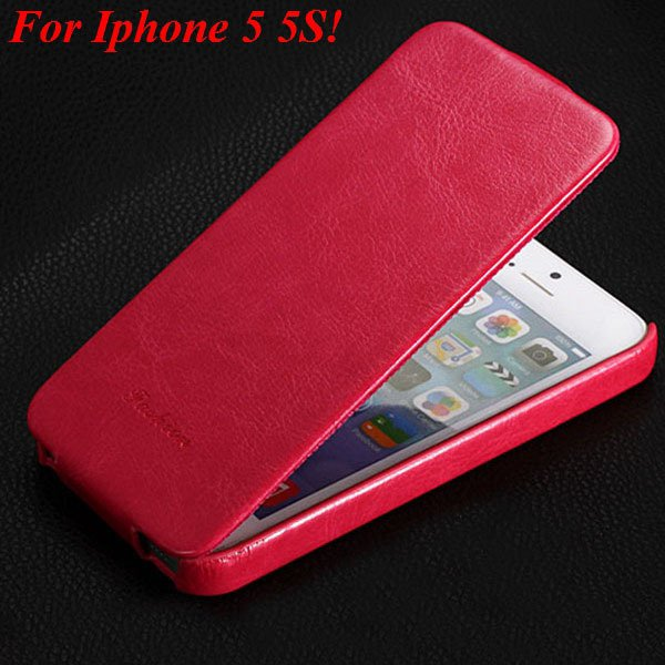 5S Pu Leather Cover Original Flip Case For Iphone 5 5S 5G Full Pro 1273814999-5-hot pink for 5s