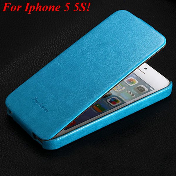 5S Pu Leather Cover Original Flip Case For Iphone 5 5S 5G Full Pro 1273814999-6-light blue for 5s