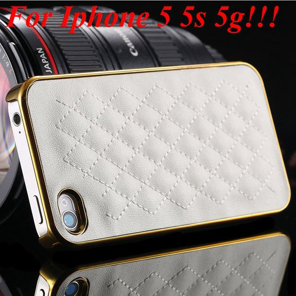 Luxury Gold Pu Leather Case For Iphone 5 5S 5G / 4 4S 4G Sheep Gri 1809974110-3-5s gold and white