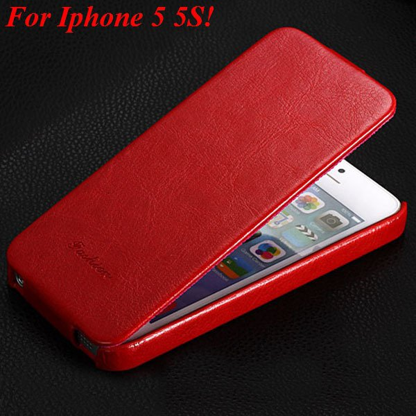 5S Flip Case Original Luxury Pu Leather Cover For Iphone 5 5S 5G V 1009168684-3-red for 5s