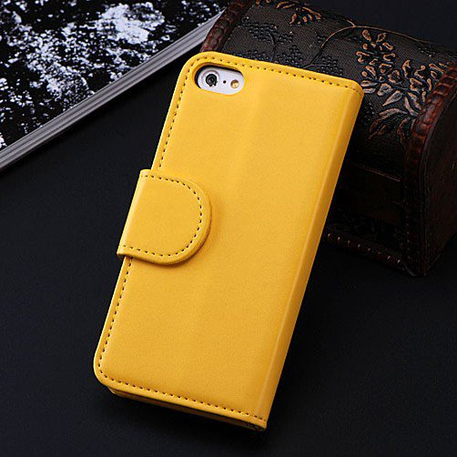 5C Luxury Pu Leather Case Photo Frame Wallet Book Cover For Iphone 1330010949-6-Yellow