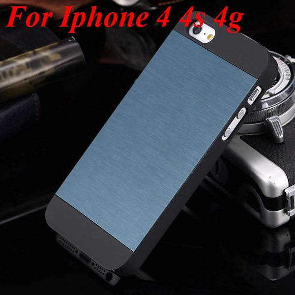 4S 5S Back Case Luxury Metal Brush Aluminum Cover For Iphone 4 4S  1850110222-10-navy blue for 4S