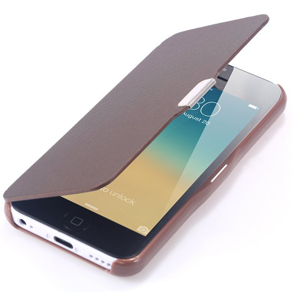 Fashion Flip Pu Leather Full Protect Cover For Apple Iphone 5C Cas 32240347361-7-brown
