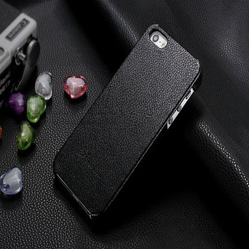 5S Cowhide Genuine Leather Case Ultra Slim Back Cover For Iphone 5 1550280602-1-black