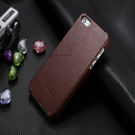 5S Cowhide Genuine Leather Case Ultra Slim Back Cover For Iphone 5 1550280602-2-brown
