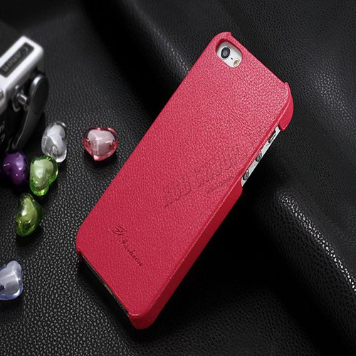 5S Cowhide Genuine Leather Case Ultra Slim Back Cover For Iphone 5 1550280602-3-hotpink
