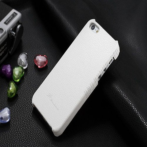 5S Cowhide Genuine Leather Case Ultra Slim Back Cover For Iphone 5 1550280602-5-white