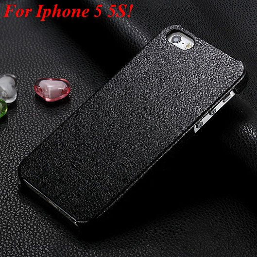 4S 5S Genuine Leather Case Original Real Cowhide Leather Cover For 1551484355-1-black for 5S