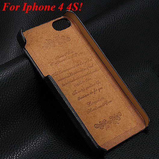 4S 5S Genuine Leather Case Original Real Cowhide Leather Cover For 1551484355-6-black for 4s