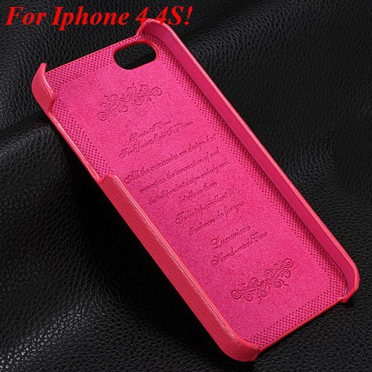 4S 5S Genuine Leather Case Original Real Cowhide Leather Cover For 1551484355-8-hot pink for 4s