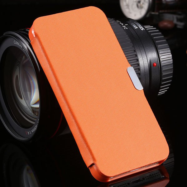 5S Magnetic Wallet Book Case Flip Pu Leather Cover For Iphone 5 5S 1057199030-7-orange