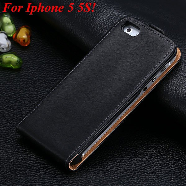 Luxury Genuine Leather Flip Cover Case For Iphone 5 5S 5G Full Pho 1336843246-1-5 5S Black