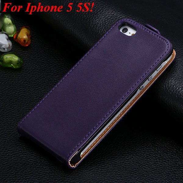 Luxury Genuine Leather Flip Cover Case For Iphone 5 5S 5G Full Pho 1336843246-5-5 5S Purple