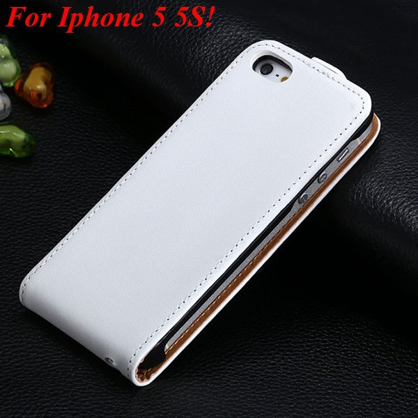Luxury Genuine Leather Flip Cover Case For Iphone 5 5S 5G Full Pho 1336843246-7-5 5S White