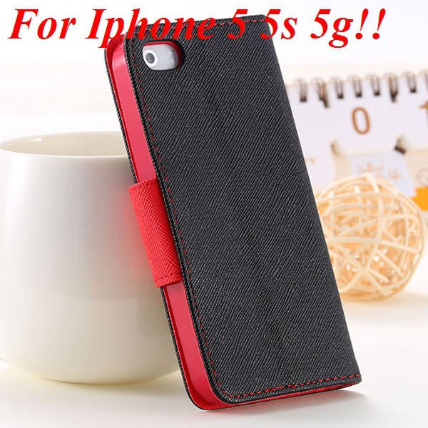 Fashion Full Case For Iphone 5 5S 5G Tpu+Pu Wallet Stand Flip Leat 1777369209-2-black and red for 5S