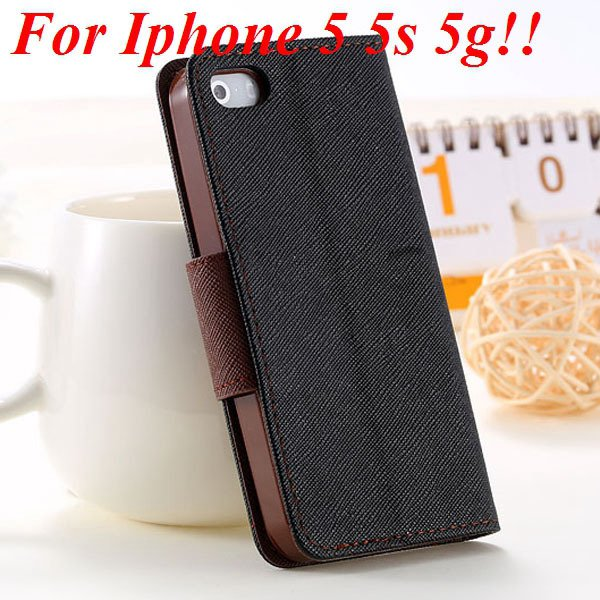 Fashion Full Case For Iphone 5 5S 5G Tpu+Pu Wallet Stand Flip Leat 1777369209-12-black brown for 5s