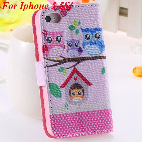 Cute Animal Structure Flip Wallet Case For Iphone 5 5S 5G 4 4S 4G  1925524274-11-5s owl on tree