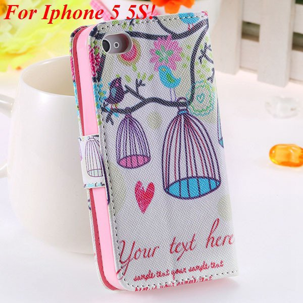 Cute Animal Structure Flip Wallet Case For Iphone 5 5S 5G 4 4S 4G  1925524274-15-5s birdcage