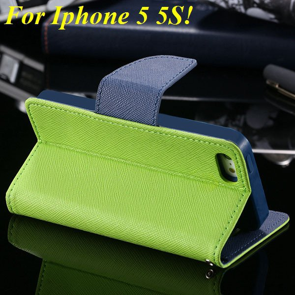 Tpu+Pu Wallet Book Style Case For Iphone 5 5S 5G Flip Leather Carr 1774336501-1-green