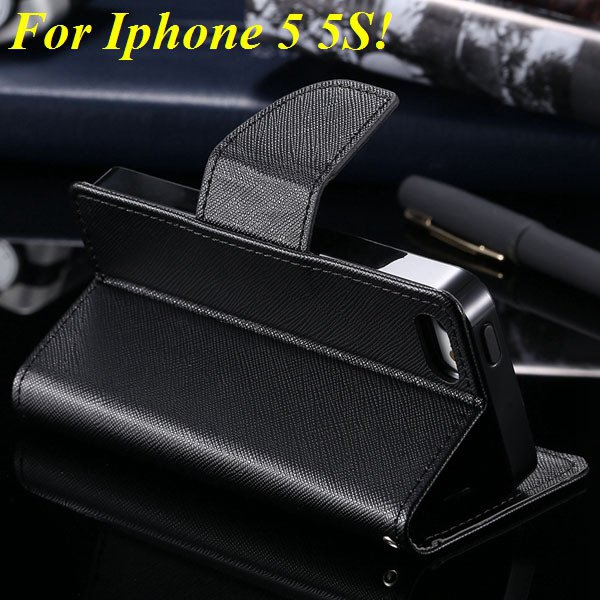 Tpu+Pu Wallet Book Style Case For Iphone 5 5S 5G Flip Leather Carr 1774336501-3-all black