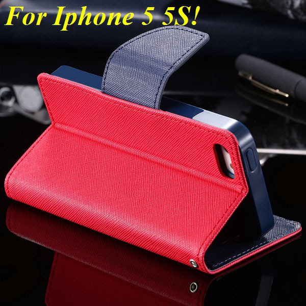Tpu+Pu Wallet Book Style Case For Iphone 5 5S 5G Flip Leather Carr 1774336501-5-red