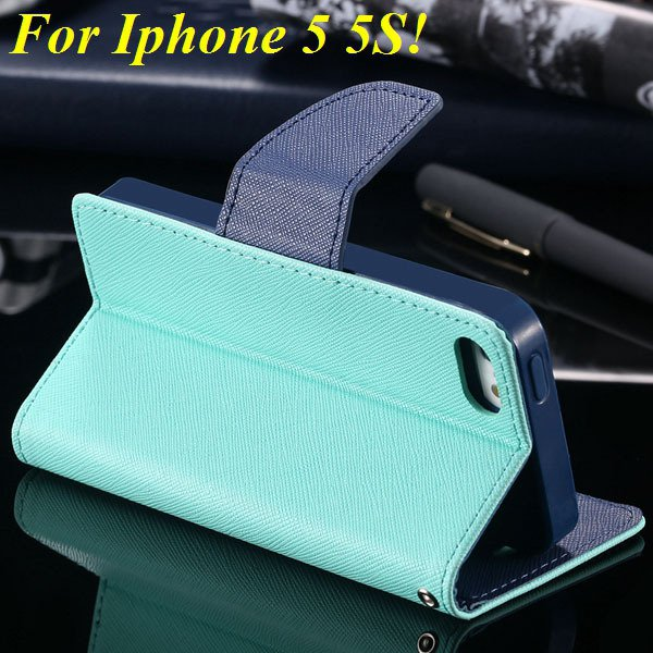 Tpu+Pu Wallet Book Style Case For Iphone 5 5S 5G Flip Leather Carr 1774336501-6-mint green