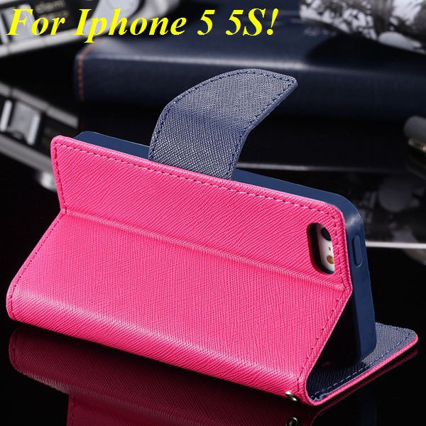 Tpu+Pu Wallet Book Style Case For Iphone 5 5S 5G Flip Leather Carr 1774336501-8-hot pink