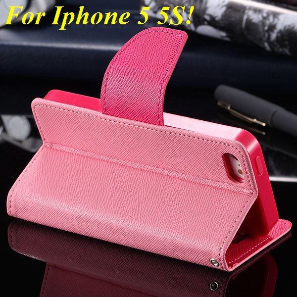 Tpu+Pu Wallet Book Style Case For Iphone 5 5S 5G Flip Leather Carr 1774336501-10-pink