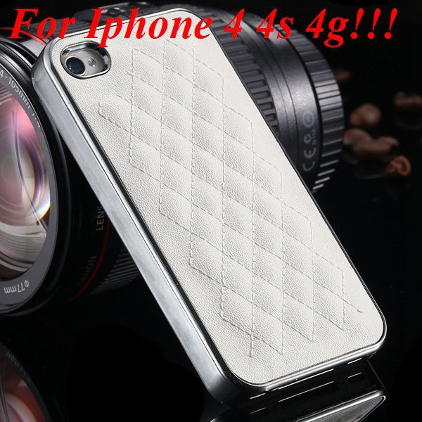 High Quality Pu Leather Case For Iphone 4 4S 4G 5 5S 5G Standard S 1810056459-5-4s silver and white