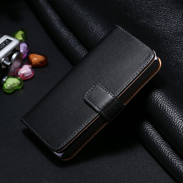 5C Genuine Leather Case For Iphone 5C Flip Wallet Cover Stand Func 1850663553-4-black