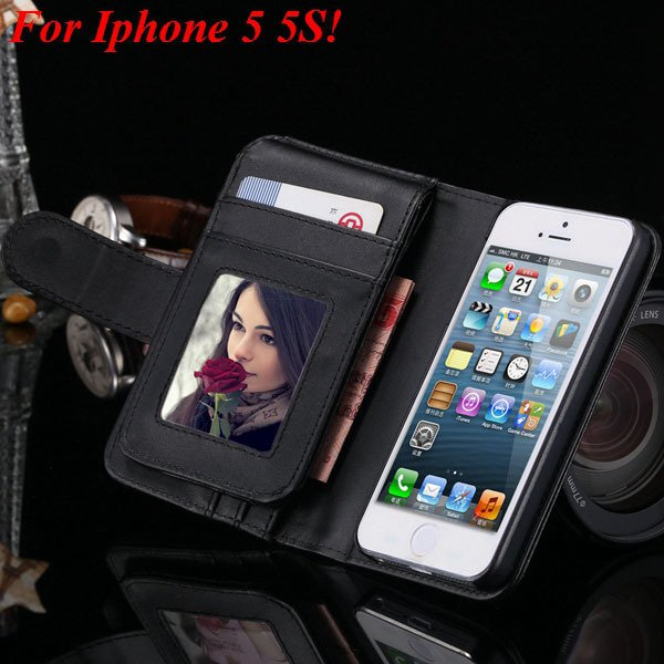 4S 5S Case Flip Folded Case For Iphone 4 4S 4G 5 5S 5G Multi-Funct 1881122372-2-black for 5s