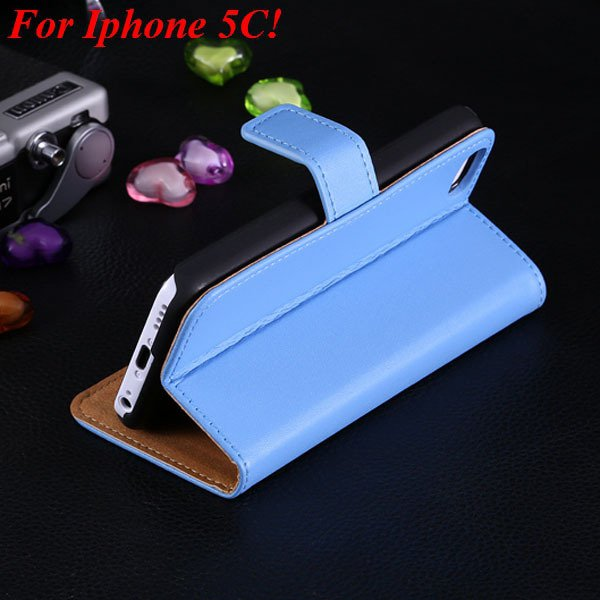 5C Genuine Leather Case Flip Cover For Iphone 5C Full Wallet Phone 1850594132-3-blue for 5C