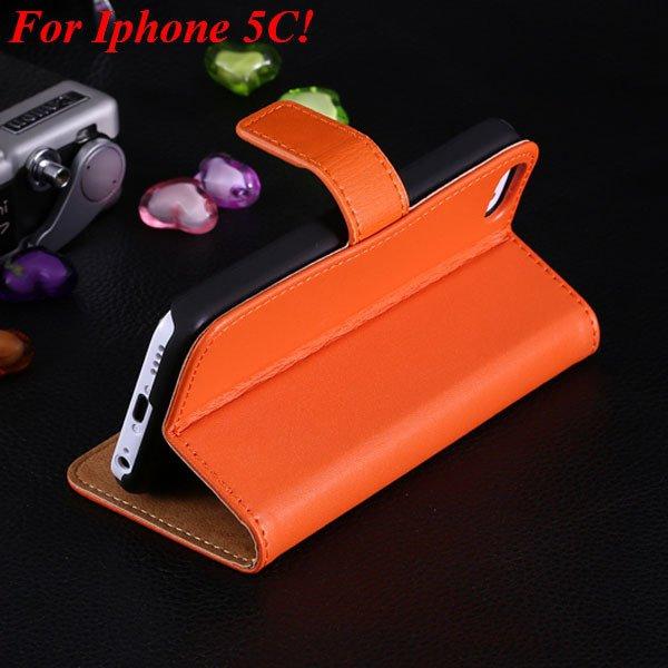 5C Genuine Leather Case Flip Cover For Iphone 5C Full Wallet Phone 1850594132-7-orange for 5C