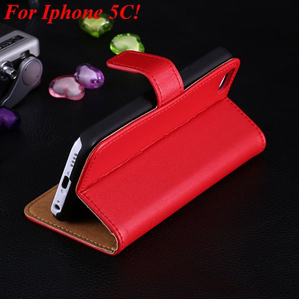 5C Genuine Leather Case Flip Cover For Iphone 5C Full Wallet Phone 1850594132-8-red for 5C