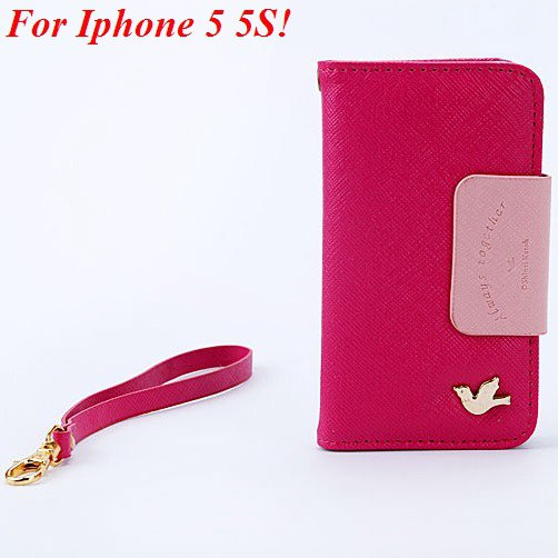 4S 5S Flip Case Wallet Leather Cover For Iphone 4 4S 4G 5 5S 5G Ph 1848716552-1-hot pink for 5S