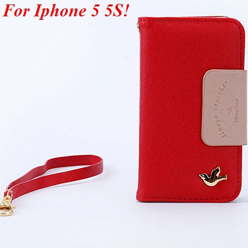4S 5S Flip Case Wallet Leather Cover For Iphone 4 4S 4G 5 5S 5G Ph 1848716552-5-red for 5S