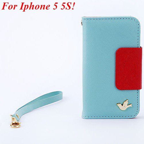 4S 5S Flip Case Wallet Leather Cover For Iphone 4 4S 4G 5 5S 5G Ph 1848716552-6-sky blue for 5S