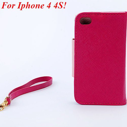 4S 5S Flip Case Wallet Leather Cover For Iphone 4 4S 4G 5 5S 5G Ph 1848716552-7-hot pink for 4S