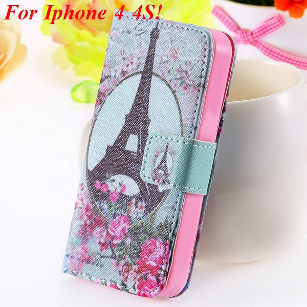 Matt Color Printed Flip Leather Case For Iphone 4 4S 4G 5 5S 5G Wa 1925063846-3-4s Flower Tower