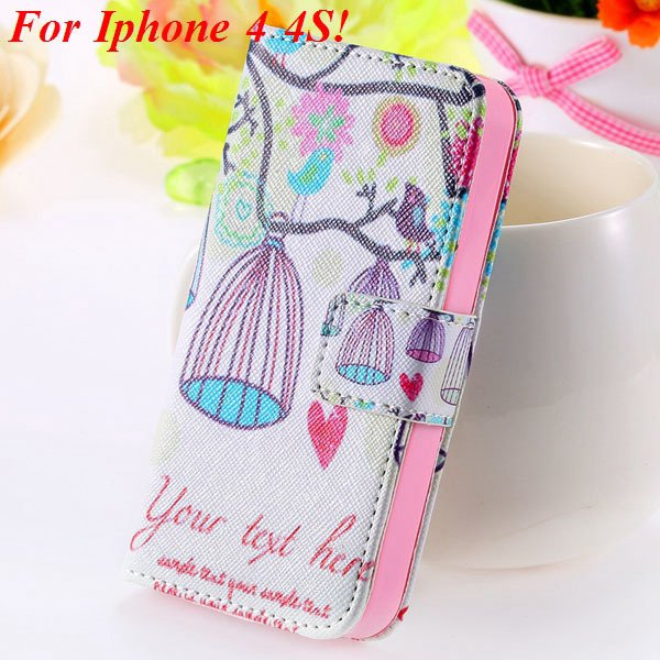 Matt Color Printed Flip Leather Case For Iphone 4 4S 4G 5 5S 5G Wa 1925063846-6-4s Birdcage