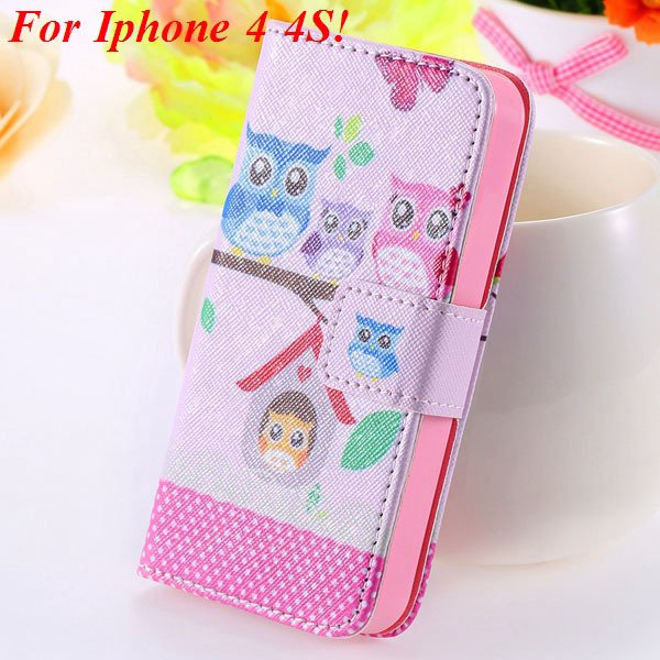 Matt Color Printed Flip Leather Case For Iphone 4 4S 4G 5 5S 5G Wa 1925063846-9-4s Owl on tree