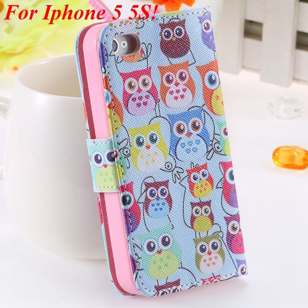 Matt Color Printed Flip Leather Case For Iphone 4 4S 4G 5 5S 5G Wa 1925063846-12-5s Many Owls