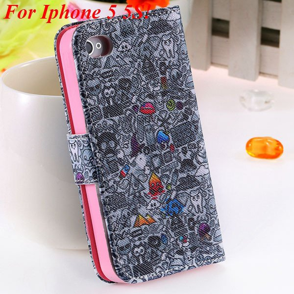 Matt Color Printed Flip Leather Case For Iphone 4 4S 4G 5 5S 5G Wa 1925063846-13-5s Gray Wizard