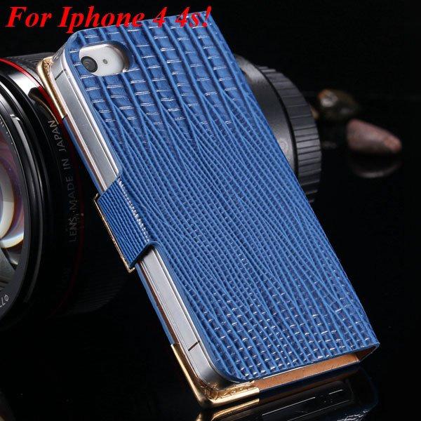 4S 5S Luxury Bling Diamond Flip Case For Iphone 4 4S 4G 5 5S 5G Pu 1892068653-10-blue for 4s