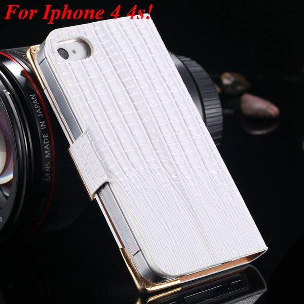 4S 5S Luxury Bling Diamond Flip Case For Iphone 4 4S 4G 5 5S 5G Pu 1892068653-11-white for 4s